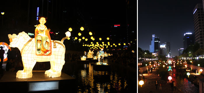 Lentera Lotus yang Menerangi Pemandangan Malam di Seoul