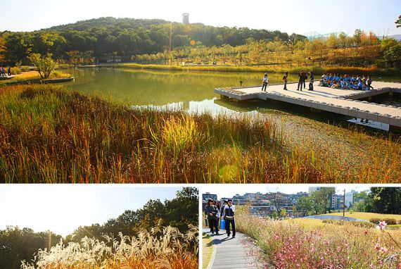 Jalan kecil yang menghubungkan Hutan Seoul dan Jembatan Gwangjingyo yang menghadap ke Sungai Han