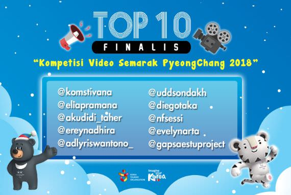Finalis - TOP 10 Video EVENT 'Kompetisi Video Semarak PyeongChang 2018'